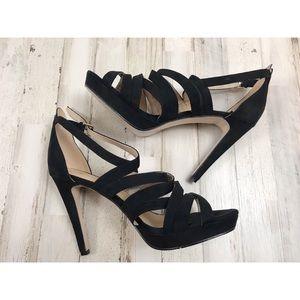 H&M black velvet strap stiletto size 10